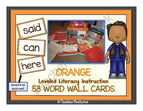 ORANGE Leveled Literacy Intervention(LLI) Word Wall Cards from Teacher Features on TeachersNotebook.com -  (6 pages)  - This word set coordinates with the Fountas & Pinnell Orange Leveled Literacy Intervention Kit (LLI), but can easily be used alone. Contains 58 High frequency words on individual cards.