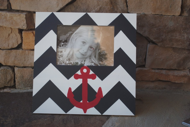 Hand Painted Red Anchor Picture Frame . .Navy Blue and White  Chevron Stripes. . Nautical . .Boys Ocean Bedroom Nursery Bathroom Playroom. $33.00, via Etsy.