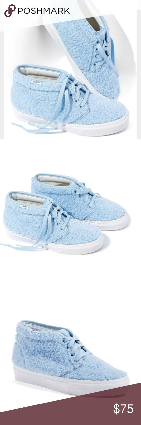 Nwt VERY RARE Van Faux Shearling Chukka Sneakers Very rare and sold out Nwt Van Faux Shearling Chukka Sneaker (Unisex) (Nordstrom Exclusive) Plush, baby-blue faux shearling brings a cloud of softness to a chic chukka sneaker set on a bright white bumper sole.  Lace-up style.Textile faux-shearling upper/textile lining/rubber sole. NO BOX NO TRADES Vans Shoes Sneakers