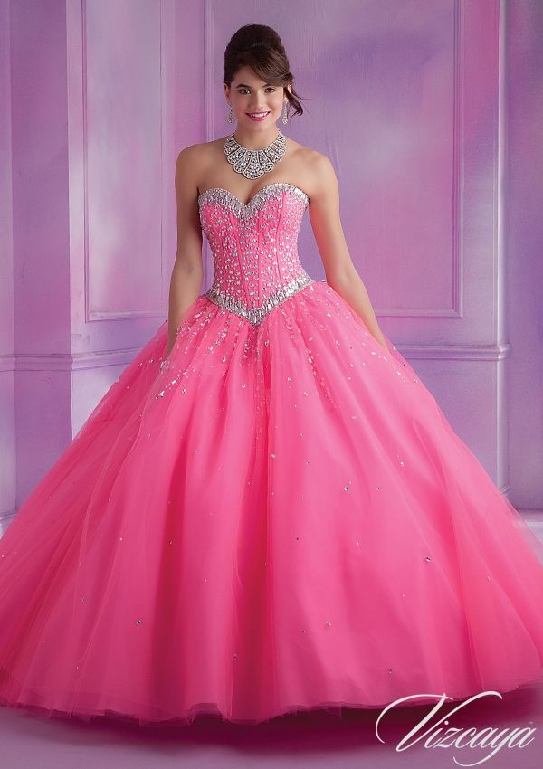 Quinceanera dresses by Vizcaya 89012 Tulle Quinceanera Gown with Beading Bolero Jacket. Corset Tie Back. Colors Available: Deep Purple, Pink Panther, Coral, White. Sizes Available: 0-24.