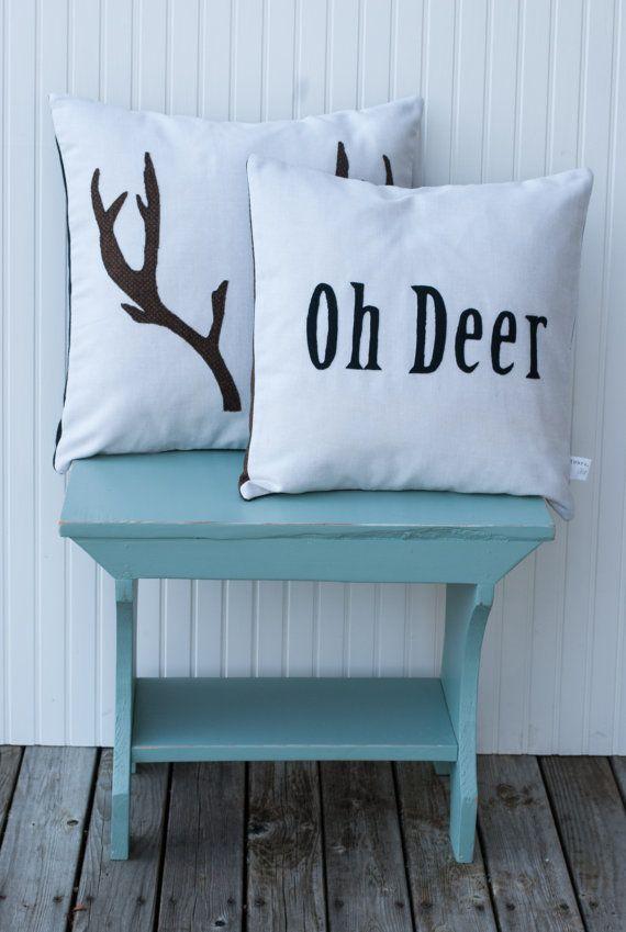 Decorative Throw Pillows / Pillow Cover Set / Antlers / Deer / Applique / Winter…