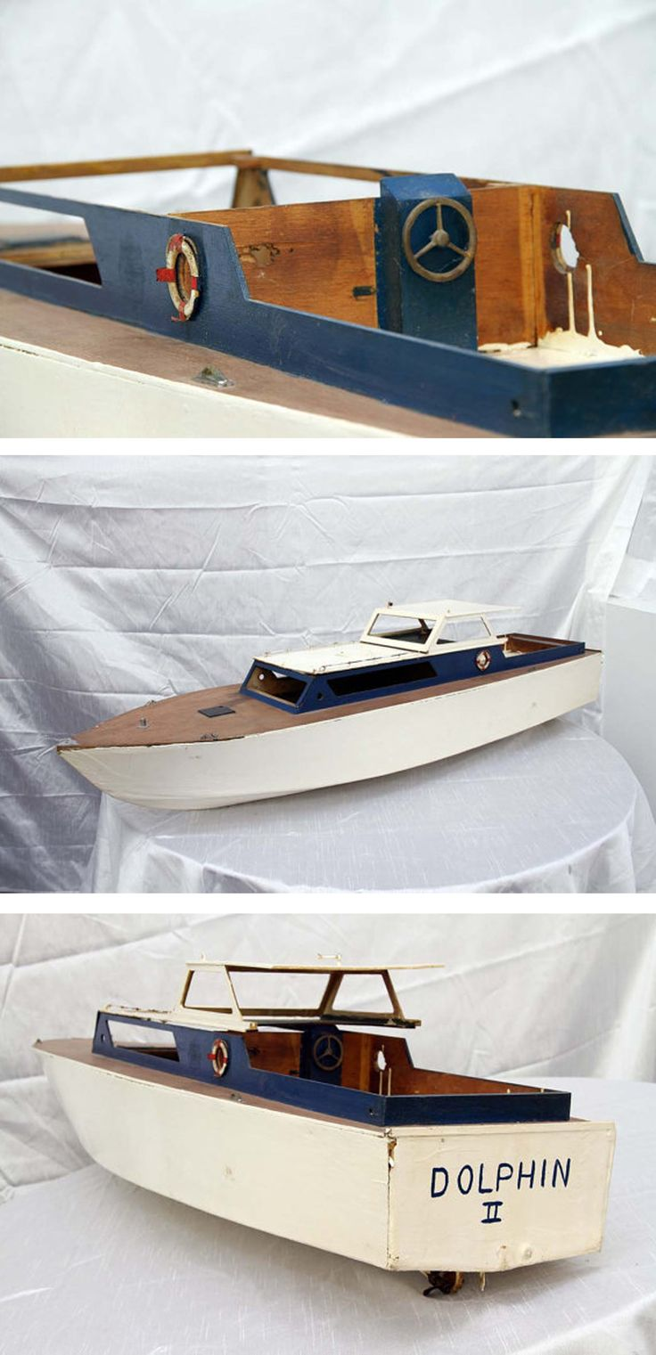 "Ok, this is for all of you hobby boat people out there. This is a vintage handmade wooden boat named ""Dolphin"""