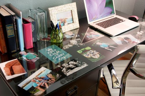 Want a glass desktop with pictures under it
