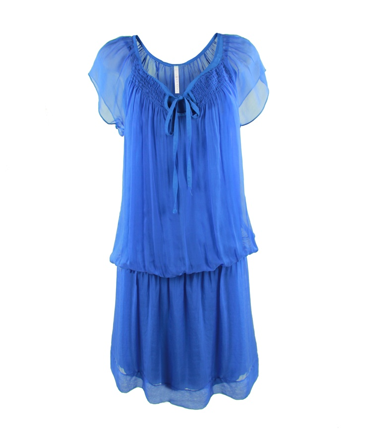 Mini soft dress with a ribbon on the neckline