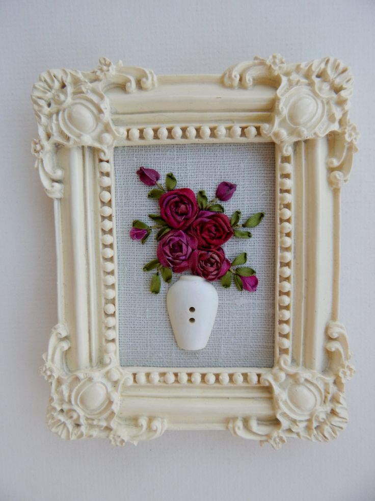"Framed Victorian Style Silk Ribbon Embroidery Rose Bouquet in Button Vase Designed by Me 4-1/2"" x 3-1/2"" by ItsSewPrettyByJanet on Etsy"