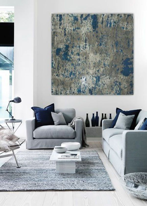 Grey And Navy Large Abstract Painting Teal Blue Navy Grey Gray White Canvas  Art Wall Art Big Huge Painting Contemporary Minimalist Modern Part 90