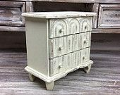 ORNATE JEWELRY BOX White Distressed Wood Red Velvet Cottage Chic Jewelry Storage Shabby Chic Jewelry Organizer Vintage Jewelry Compartment - pinned by pin4etsy.com