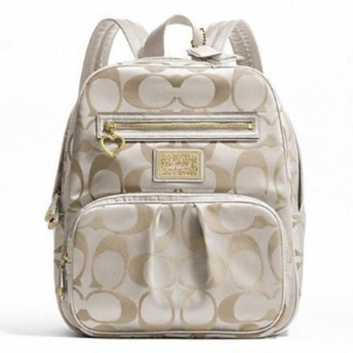 coach backpack purse outlet b19c  Coach Daisy Signature Backpack School Travel Laptop / Baby Diaper Bag  Khaki/white