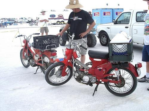 Vintage Honda pit bikes @ Bonneville Salt Flats, Honda Trail 90's,