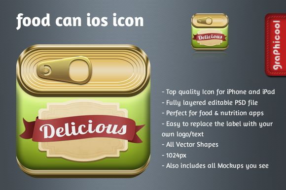 Check out Canned Food iOS app icon by Graphicool on Creative Market