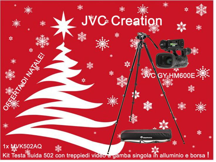 Offerta di Natale! JVC Creation  Camcorder JVC GY HM600E + Kit Manfrotto MVK502AQ  Kit Testa fluida 502 con treppiedi video a gamba singola in alluminio e borsa Info: https://www.adcom.it/it/ripresa-registrazione/camcorders-hd-hd-ready/1-3/jvc-creation-gy-hm600e-promo-christmas/p_n_14_347_2849_37510