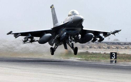 An F-16 Fighting Falcon deployed from Shaw Air Force Base S.C. takes off from Bagram Airfield Afghanistan. The F-16s mission in Afghanistan is to provide tactical air-to-air and air-to-ground support for Operation Enduring Freedom. (U.S. Air Force photo/Senior Airman Chris Willis)