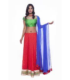 Buy Red border work chiffon stitched lehenga choli readymade-lehenga-choli online