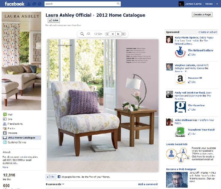 Laura Ashleys implementation of and online brochure, showcasing their 2012 lines.