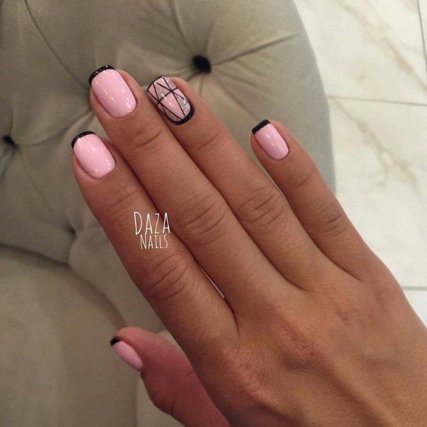 Accurate nails, Beautiful nails 2016, Black french manicure, Drawings on nails, Exquisite nails, Nail designs for short nails, Nails ideas 2016, Original nails