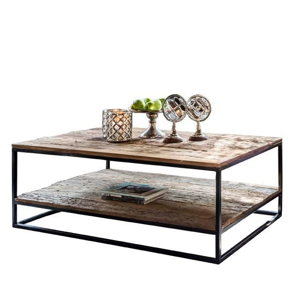 Raffles Reclaimed Wood Industrial Coffee Table With Shelf