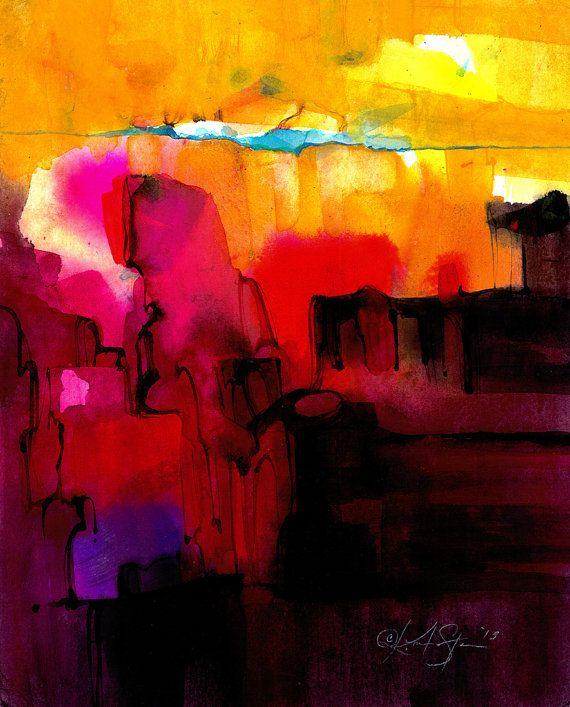 Serie de abstracción. 400... Pintura ooak arte original agua acuarela abstracta de los medios de comunicación por Kathy Morton Stanion EBSQ