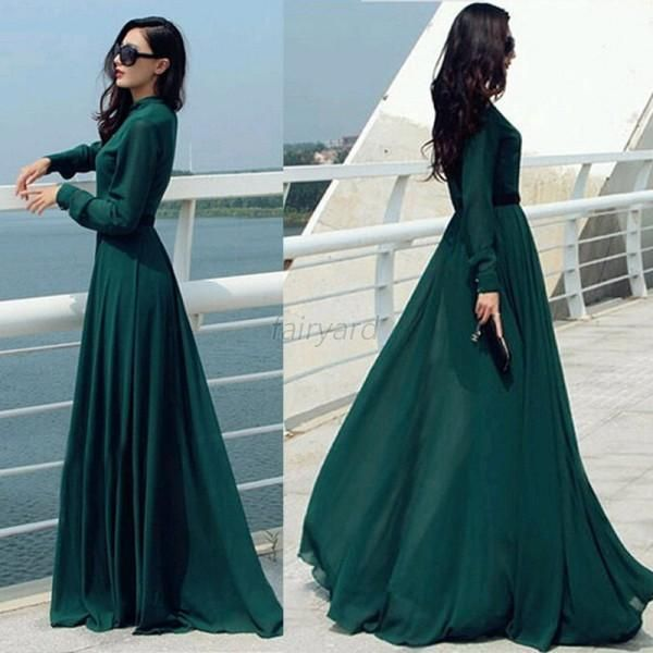 H m long dress light green aura