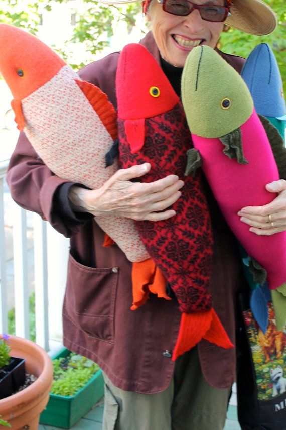 Bright Magenta and Olive wool fish pillow doll by MimiKirchner