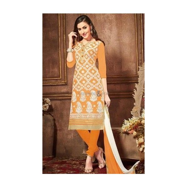 Ravishing Yellow Cotton Latest Punjabi Suit Embroidery Design ❤ liked on Polyvore featuring patiala salwar suit, punjabi dress, punjabi suit and punjabi suits design