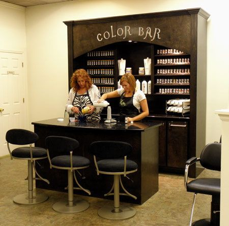 I like the idea, maybe with a bigger bar counter. Color Bar- such a cute salon…