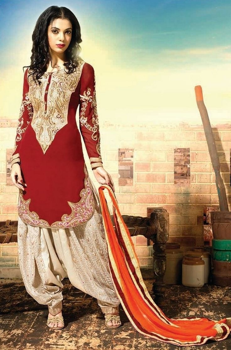 Maroon & Off White Georgette Patiala Suit With Chiffon Dupatta