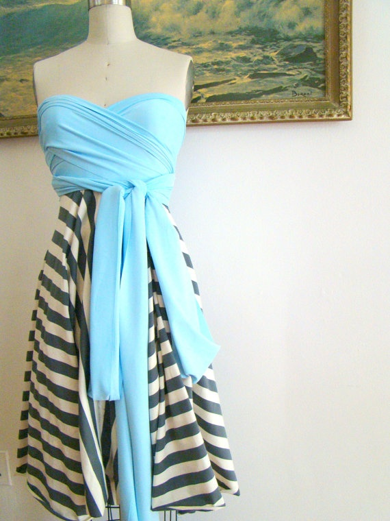 perfect bridesmaid dress for a nautical theme wedding... convertible wrap dress (can wear in MANY ways - fits all body types) - $80