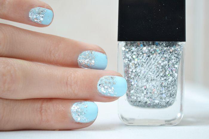 Maunucure Reine des Neiges Bleu, blue, glitter, paillettes, frozen, #nail, #blue #frozen #formulax