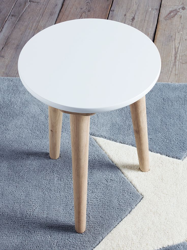 NEW White Low Oak Stool