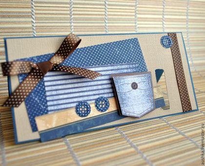 Открытки на все случаи жизни ручной работы. Джинсовый комплект открытка+конверт для диска. Скрап-Аюшка. Ярмарка Мастеров. Открытки ручной работы