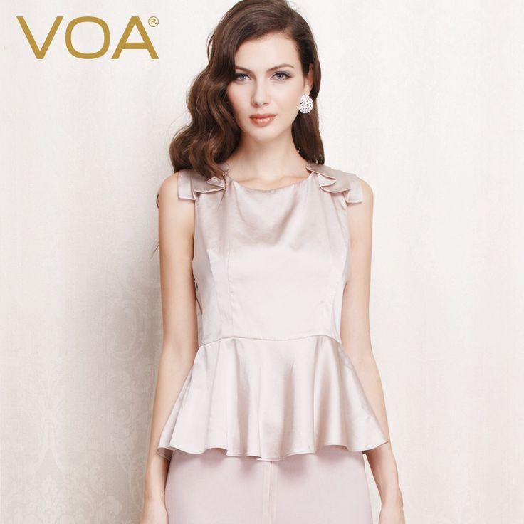 >> Click to Buy << VOA beige silk sleeveless tees female European women's new Biansang silk t-shirt silk lotus B1052 #Affiliate