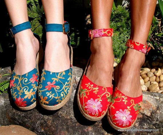 Embroidered Floral Ankle Strap Wedge Shoe In by SiameseDreamDesign, $44.00