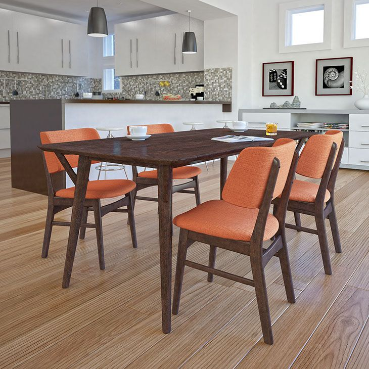 Vestige Dining Side Chair Set of 4, Walnut Orange - Recollect fond memories and thoughtful exchanges in the Vestige Wood Dining Chair. Made of solid walnut rubberwood, and a linen upholstered foam back and seat, Vestige takes you everywhere you want to be. Close your eyes and open them to a new world of possibilities. Perfect for vintage modern, urban, ranch, and transitional decors, echo traces from the past while envisioning the future ahead. Set Includes: Four - Vestige Dining Side Chair…