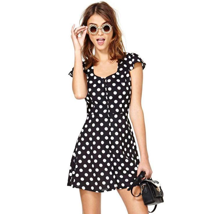 Купить товарБелый горошек печать выдалбливают с коротким рукавом платья 2015 мода летние женщины спинки платья размер плюс в категории Платьяна AliExpress.            &