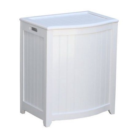 Oceanstar BHP0106W Bowed Front Laundry Wood Hamper, White Finished by Oceanstar