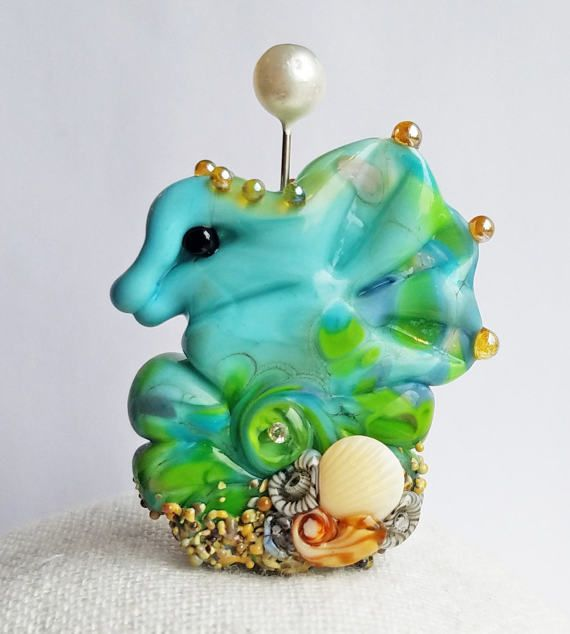 Beachy Bottom Seahorse Focal in Turquoise & Kelp by Sabrina Koebel Handmade Lampwork Beads