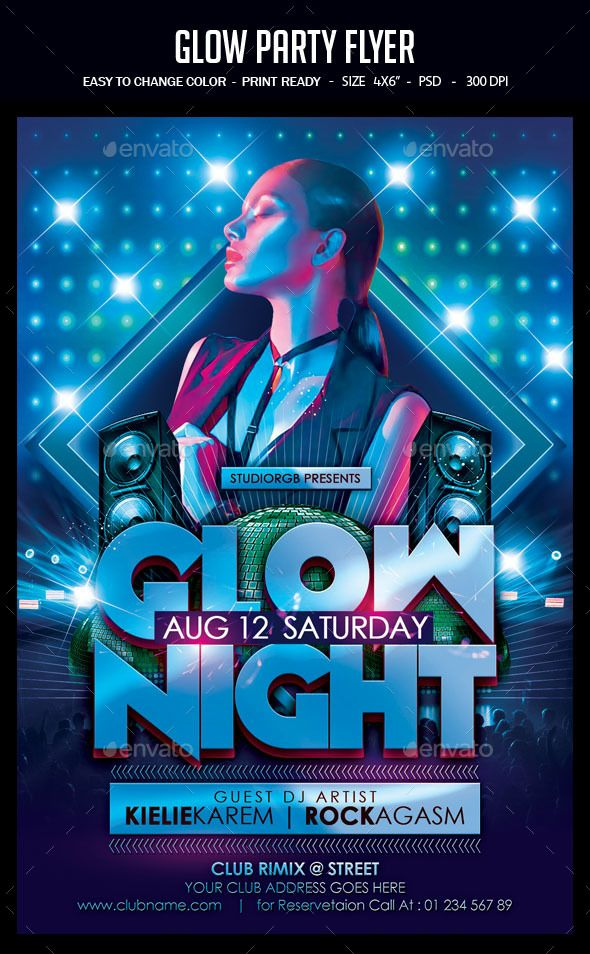 Glow Party Flyer Template PSD | Flyer Templates | Pinterest