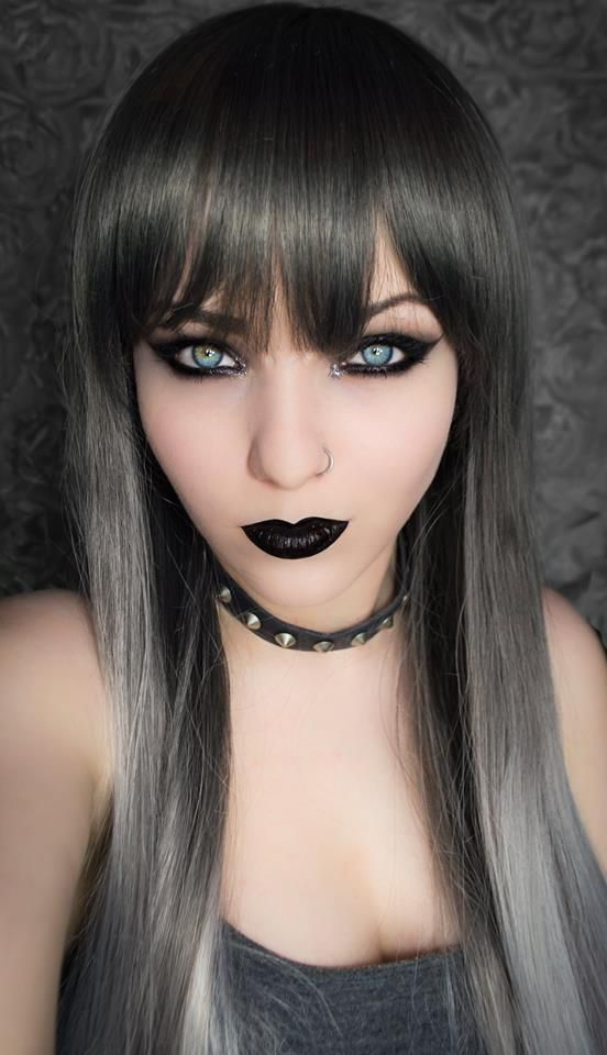 I want this wig!!! From Geisha wigs. Grey Ombre, Black Grey Silver Ombre Dip Dye Gradient Gothic Lolita Cosplay Wig