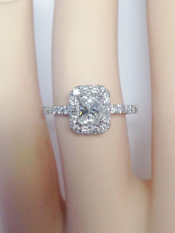 1.00CT Diamond Radiant Cut Halo Engagement Ring Anniversary
