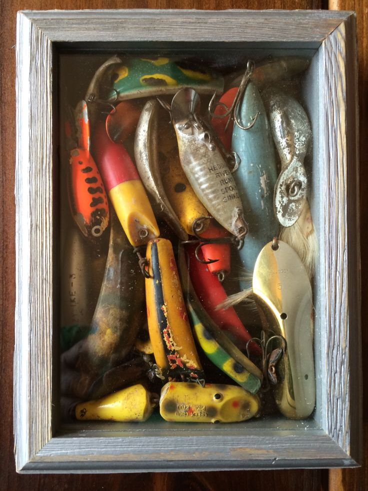 Vintage fishing lures shadow box