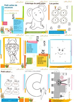Cahiers de vacances gratuits (Free vacation workbooks - kindergarten & primary grades)