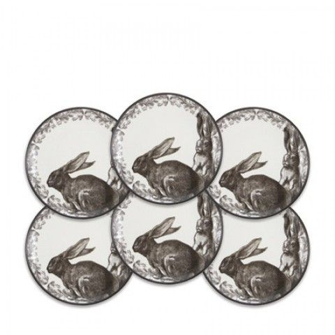 Yorkshire Hedgerow Bunnies Black Canapes Boxed Set/6   Gracious Style