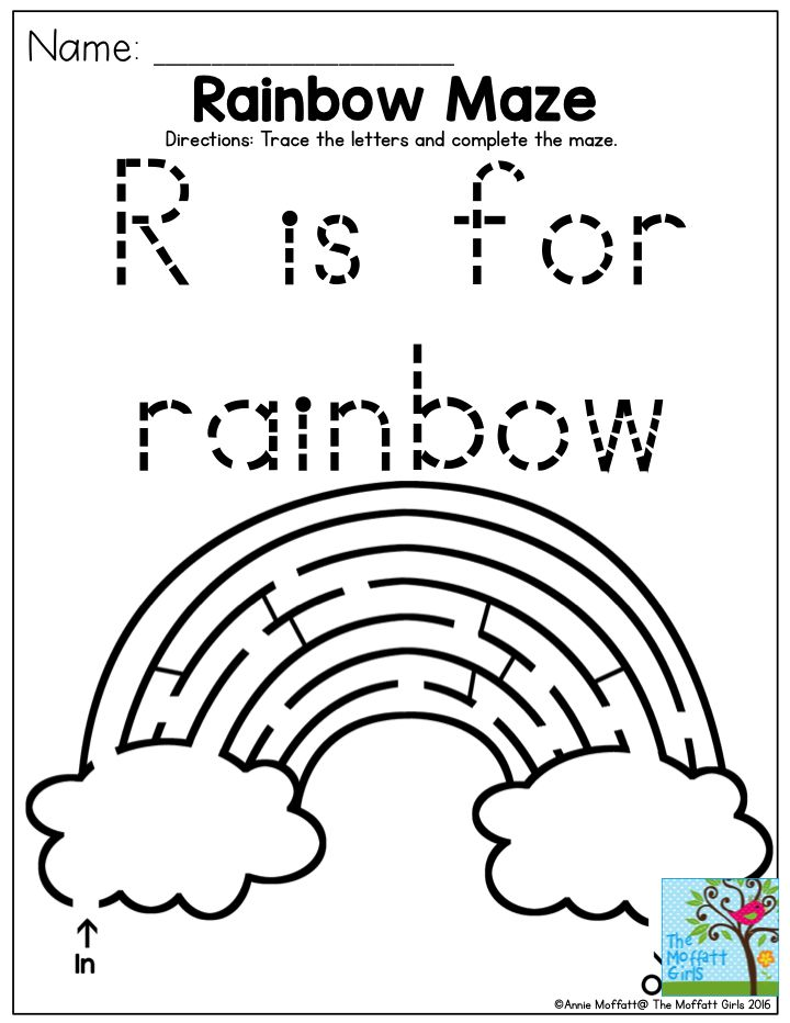 R is for rainbow maze- FUN activities for Pre-K