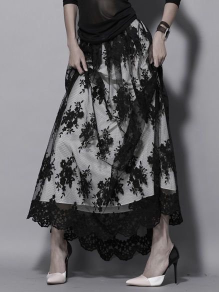 Black Floral-print Swing Lace Casual Maxi Skirt