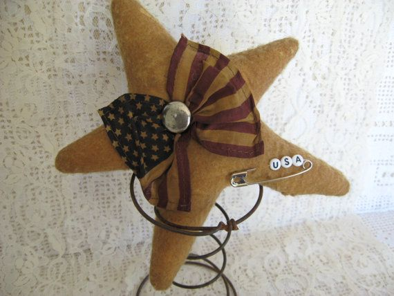 Primitive Star with Flag Nodder Patriotic by KeepsakeDesigns, $6.75