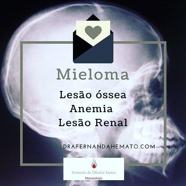 Mieloma múltiplo é um tumor hematológico das células plasmocitárias associado com lesão renal anemia e fraturas. Sempre importante pensar no diagnóstico quando houver qualquer um desses sintomas não explicado. Os exames que ajudam no diagnóstico são a eletroforese de proteinas e o mielograma. #drafernandahemato #mielomamultiplo #hematologia #medicina agora com a foto certa