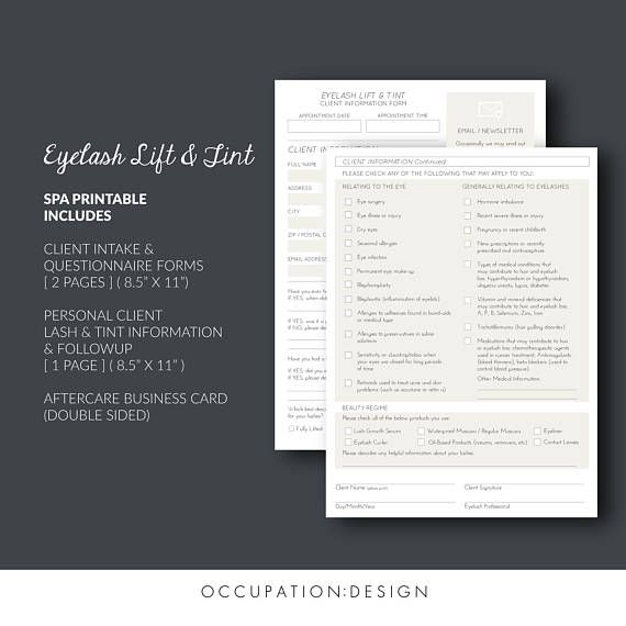 Eyelash Lift Perm & Tint: Client Information Forms Aftercare
