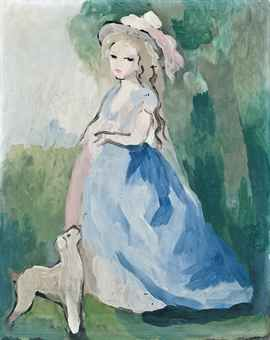 Marie Laurencin (1883-1956)   Femme debout et son chien   indistinctly incised 'Marie Laurencin' (upper right)   oil on canvas   16 1/8 x 13 in. (41 x 33 cm.)