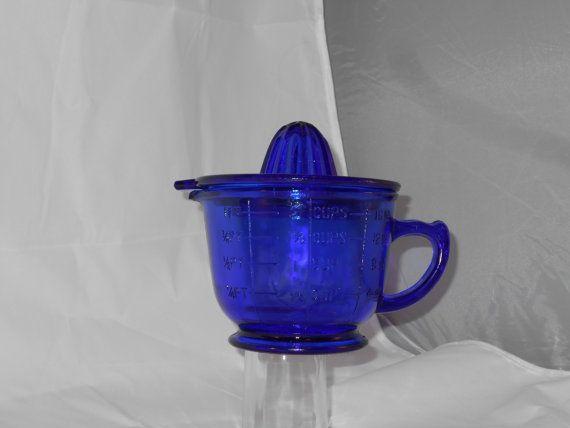 Measuring Cup Juicer  Cobalt Blue Vintage 2 Cup Measuring Cup and Citrus Juicer Farmhouse kitchen Rustic Kitchen by LeapOfFaithVintage