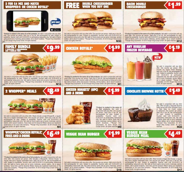 VOUCHER SAVING Fresh Burger King Printable  Vouchers for March 2015